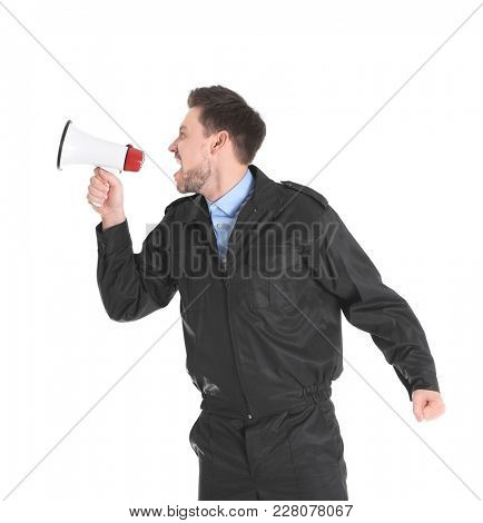 Male security guard with megaphone on white background