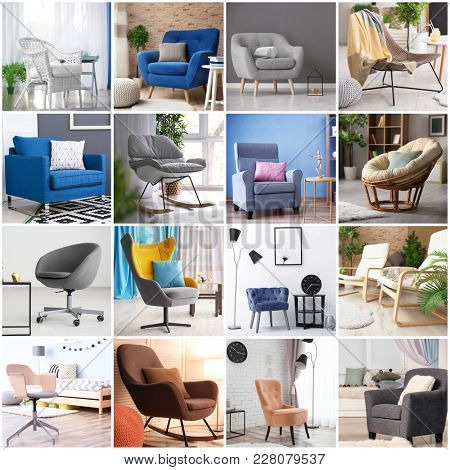 Collage with stylish and comfortable armchairs in different room interiors