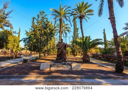 Statue of St. Peter in a beautiful park on the shores of the Sea of Galilee.