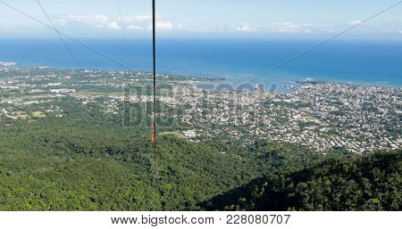 View from the aerial tram ascending Pico Isabel de Torres in Puerto Plata, Dominican Republic.