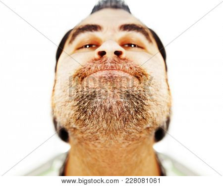 close up of not shaved face, bearded man