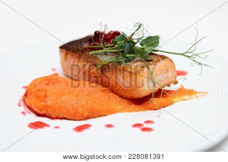 Grilled salmon steak with pumpkin puree, red berry sauce and herbs on white plate