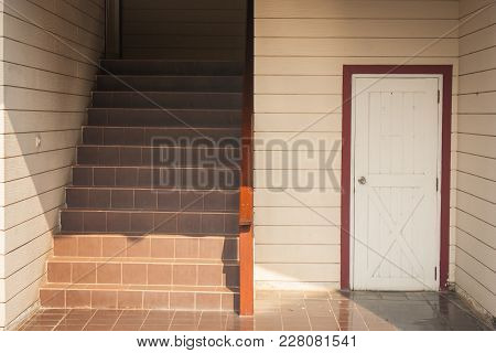 Architecture Building Interior Design Of Staircase And White Wooden Door Of Room Under Stair. (selec