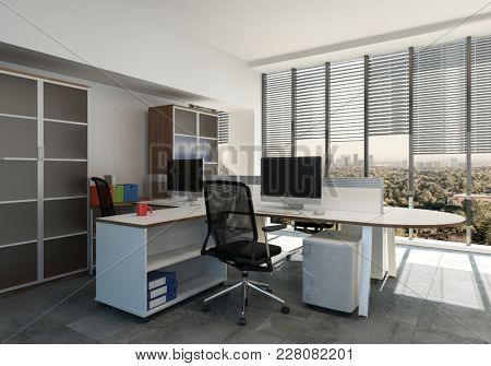 Empty workstation with computer in office room against cityscape behind window. 3d Rendering.