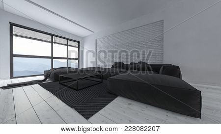 Spacious luxury light bright minimalist living room interior with large comfortable black sofas and ottomans in a monochromatic white room with wooden floorboards and large windows, 3d rendering