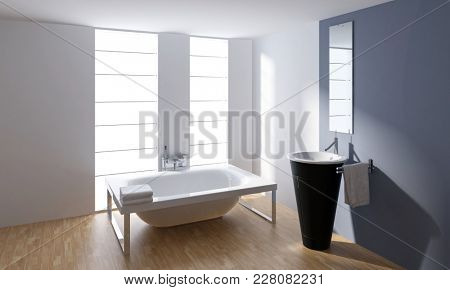 Stylish designer bathroom interior decor with a frame mounted bathtub and cylindrical hand basin in front pf a mirror lit by bright windows. 3d Rendering.