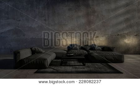 Dark gloomy modern trendy luxury living room interior in monochromatic grey with soft ambient lighting from up lights and large comfortable lounge furniture. 3d rendering