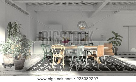 Modern rustic dining room with kitchenette in a large spacious white room with wooden beams and houseplants lit by sunlight from large windows. 3d rendering