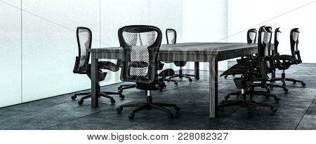 Panorama banner of a modern office conference room with stylish chairs on wheels around the table and a dark floor. 3d rendering