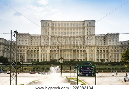 BUCHAREST, ROMANIA - August 28, 2017: Palace of Parliament in Bucharest, Romanian