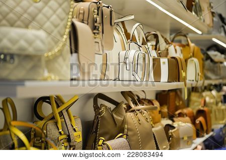 Bags Lineup On The Shelf Up In A Shopping Center Kings Avenue Mall, Paphos, Cyprus, June 2017