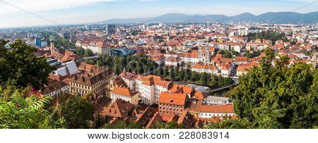 Graz Old Town Cityscape Aerial View