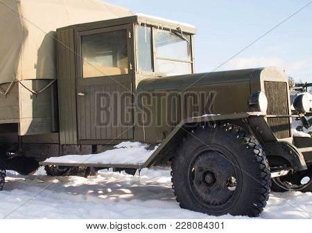 Vintage Millitary Old Truck On Snow In Winter