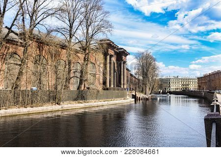Shells Of Ancient Buildings On The Shore Of The Moika. The Old Architecture Of St. Petersburg Is A P