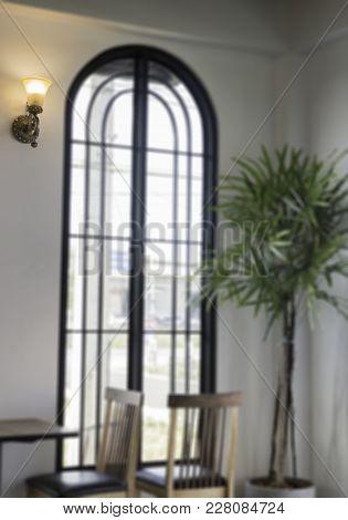 In The Bright Sunshine Window Of Beautiful Restaurant, Stock Photo