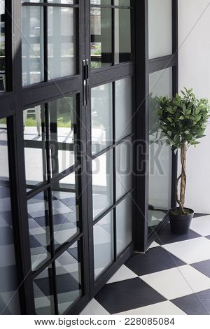 Modern Loft Door With Reflect, Stock Photo