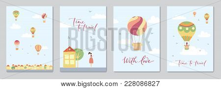 Set Of Cards With Vector Illustration Of Landscape With Hot Air Balloons In Blue Sky In Town. Isolat