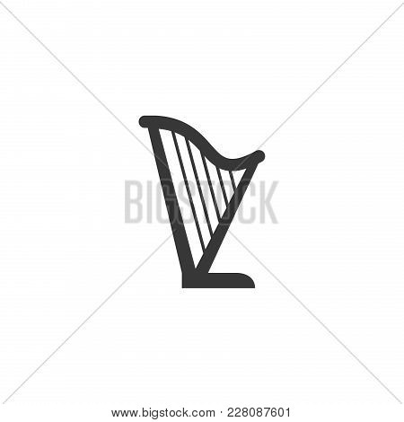 Harp Silhouette Vector Icon On White Background