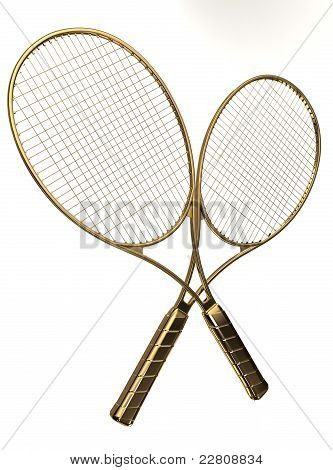 Gold tennis rackets.