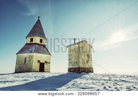 Calvary In Nitra, Slovak Republic. Winter Snowy Scenery. Religious Architecture. Old Photo Filter.
