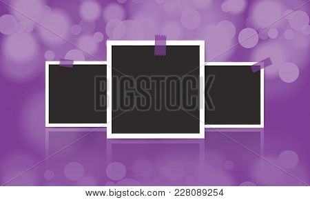 Vintage Photo Frame With Adhesive Tape On Blur Bokeh Background. Vector Illustration