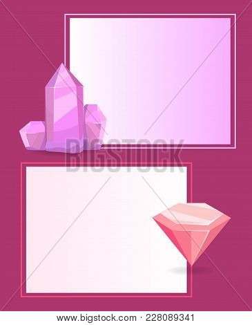 Geological Natural Resources And Place For Text In Frame Pink Border Vector Illustration. Valuable G