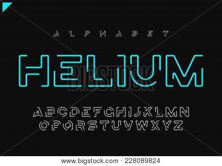 Helium Vector Minimalist Futuristic Linear Alphabet, Typeface, Letters, Font, Typography Global Swat