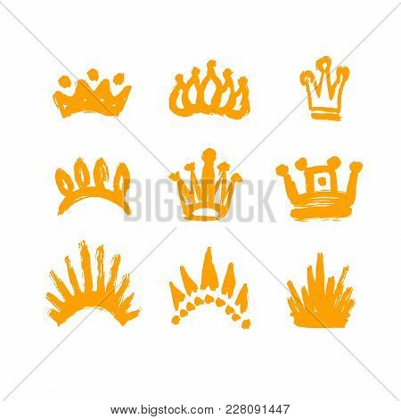 Set Of Crowns Drawn By Hand. Set Texture Strokes Thick Paint In The Form Of A Crown Isolated On Whit