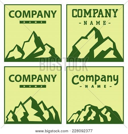 Mountain Cards Vector Silhouette Nature Outdoor Rocky Snow Ice Top Decorative Landscape Camping Logo