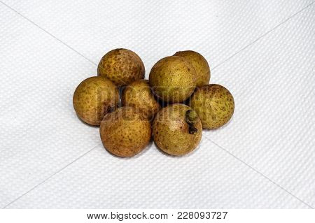 Fresh Longan On White Background.longan Fruit Contains Rich Amount Of Vitamin C That Is Equal To 80%