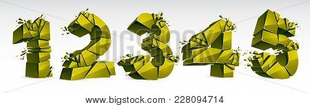 3d Realistic Green Numbers Set 1 2 3 4 5 Vector Illustration, Breaking To Pieces Digits Over White S