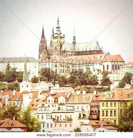 Beautiful Castle In Prague, Czech Republic. Travel Destination. Cultural Heritage. Beautiful Place.