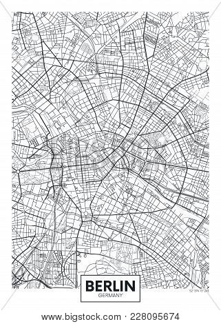 Detailed Black And White Vector Poster City Map Berlin