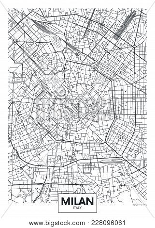Detailed Black And White Vector Poster City Map Milan
