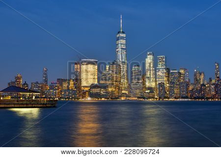Manhattan Skyline And Hudson River At Dusk, New York City, Usa