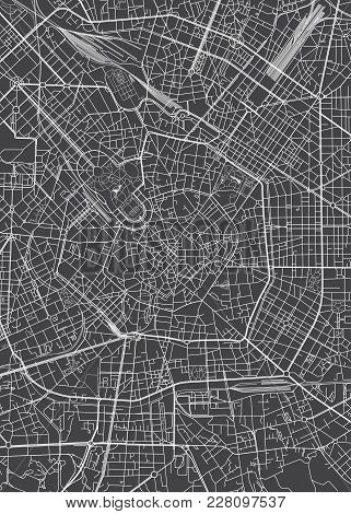 Milan City Plan, Detailed Black And White Vector Map