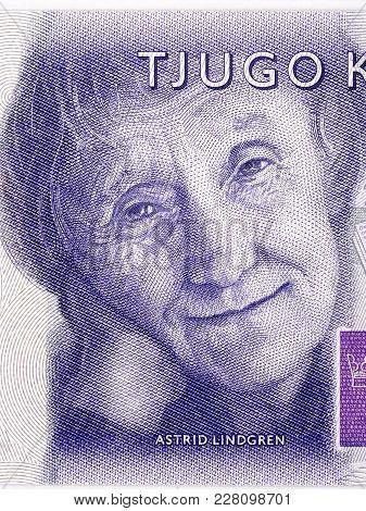 Astrid Lindgren Portrait From Swedish Money - Kronor