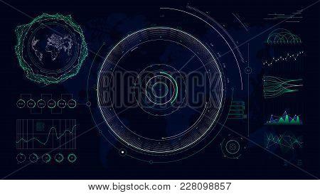 Vector Futuristic User Interface Hud Design Graphs And Charts, Global Digital Network Communications