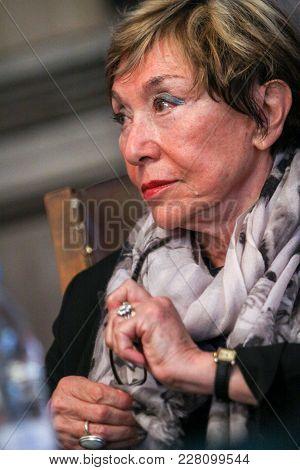 Sofia, Bulgaria - September 26, 2014: Bulgarian-french Philosopher Julia Kristeva During Her Visit T
