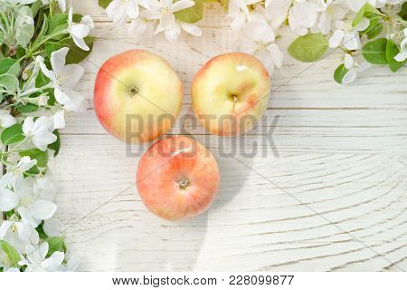 Three Ripe Apples And Flowers Of Apple. White Wooden Background.