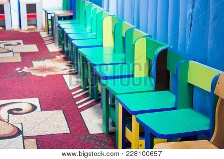 Empty Chairs In Kindergarten Empty, Holiday Graduation