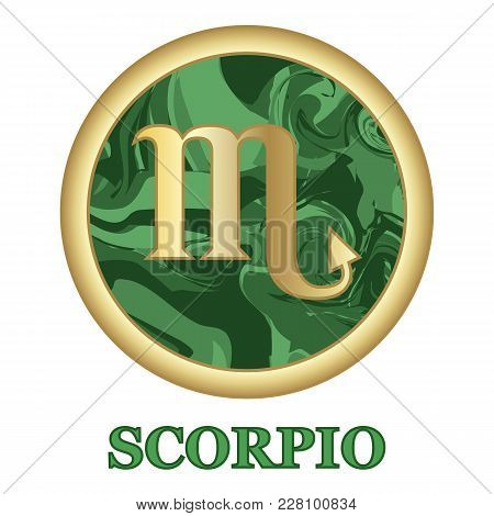 Scorpio Zodiac Sign Icon Isolated. Astrology And Horoscope Graphic Design Element. Golden Symbol On