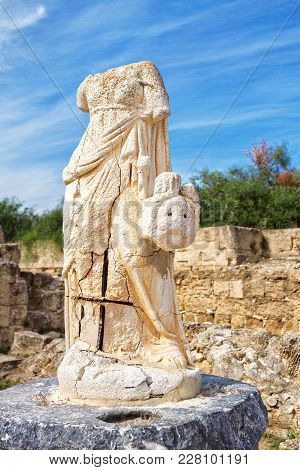 Ruins Of The Female Statues Without Heads In Ancient City Of Salamis, Famagusta, North Cyprus, Turki