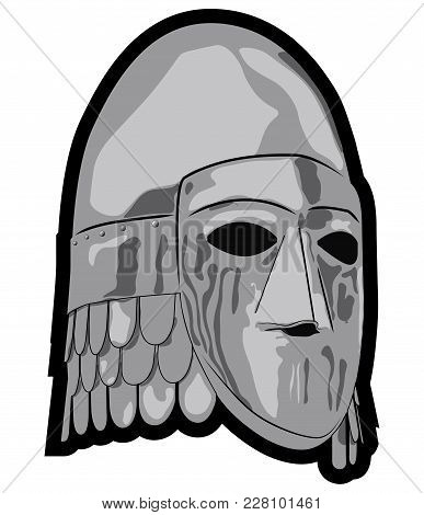 Old Slavic Helmet With Protective Mask, Cone Helmet With Rivets And Nose Protection