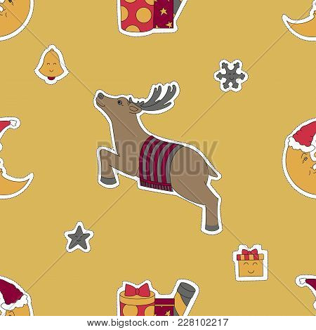Christmas Template. Deer, Moon In A Santa Hat And Gifts Vector Illustration. Seamless Pattern Backgr