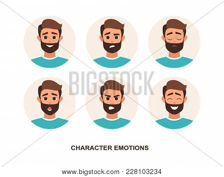 Cartoon Characters Avatars Emotion. Set Of Avatars With Character Emotions Including Surprise, Happi