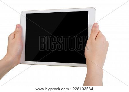 Human Hand Hold Free Blank Screen Tablet, Mobile Phone, Smartphone On Isolated White Background. Vie