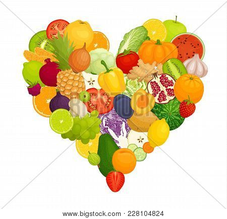 Vegetables, Fruits And Berries In The Form Of Heart. Vector Illustration. Heart Of A Coda Isolated O