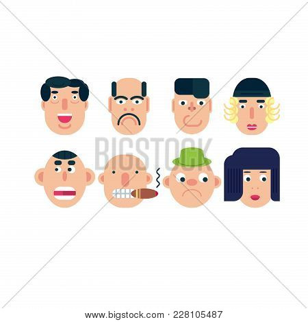 Flat Vector Characters. Vector Avatars With Eyes. Smiling Happy People. Happy Emotions. Vector Portr