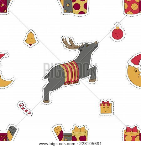 Christmas Seamless White Pattern Background. Deer, Gifts, Candy And Moon Vector Illustration. Design